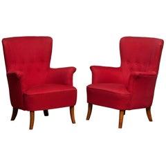 1940s, Pair of Fuchsia Easy / Lounge Chair by Carl Malmsten for Oh Sjogren