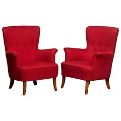 1940s, Pair of Fuchsia Easy or Lounge Chair by Carl Malmsten for OH Sjogren