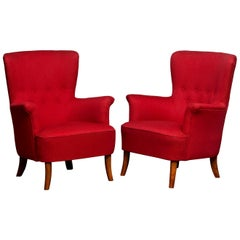 1940s, Pair of Fuchsia Easy or Lounge Chair by Carl Malmsten for OH Sjogren