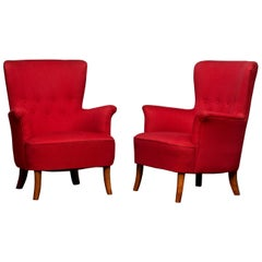 1940s, Pair of Fuchsia Easy or Lounge Chair by Carl Malmsten for Oh Sjögren