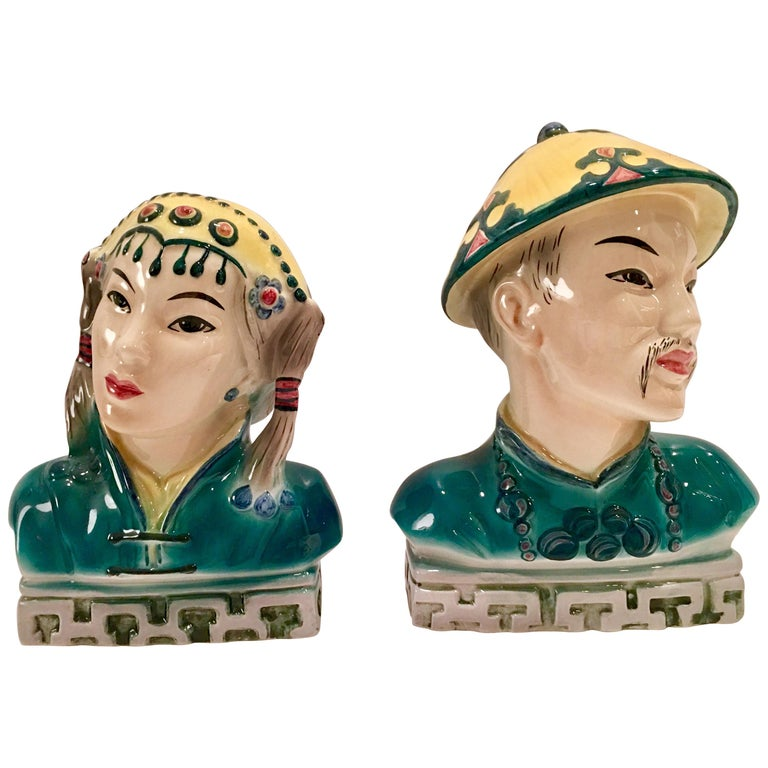 1940 S Pair Of Hand Painted Porcelain Figural Sculptures