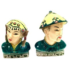 1940s Pair of Hand Painted Porcelain Figural Sculptures by Goldscheider