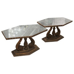 1940s Pair of Italian Mirror Topped Wood Side Tables