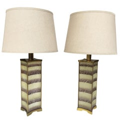 1940s Pair of Lightolier Frosted Glass Table Lamps in the Style of James Mont