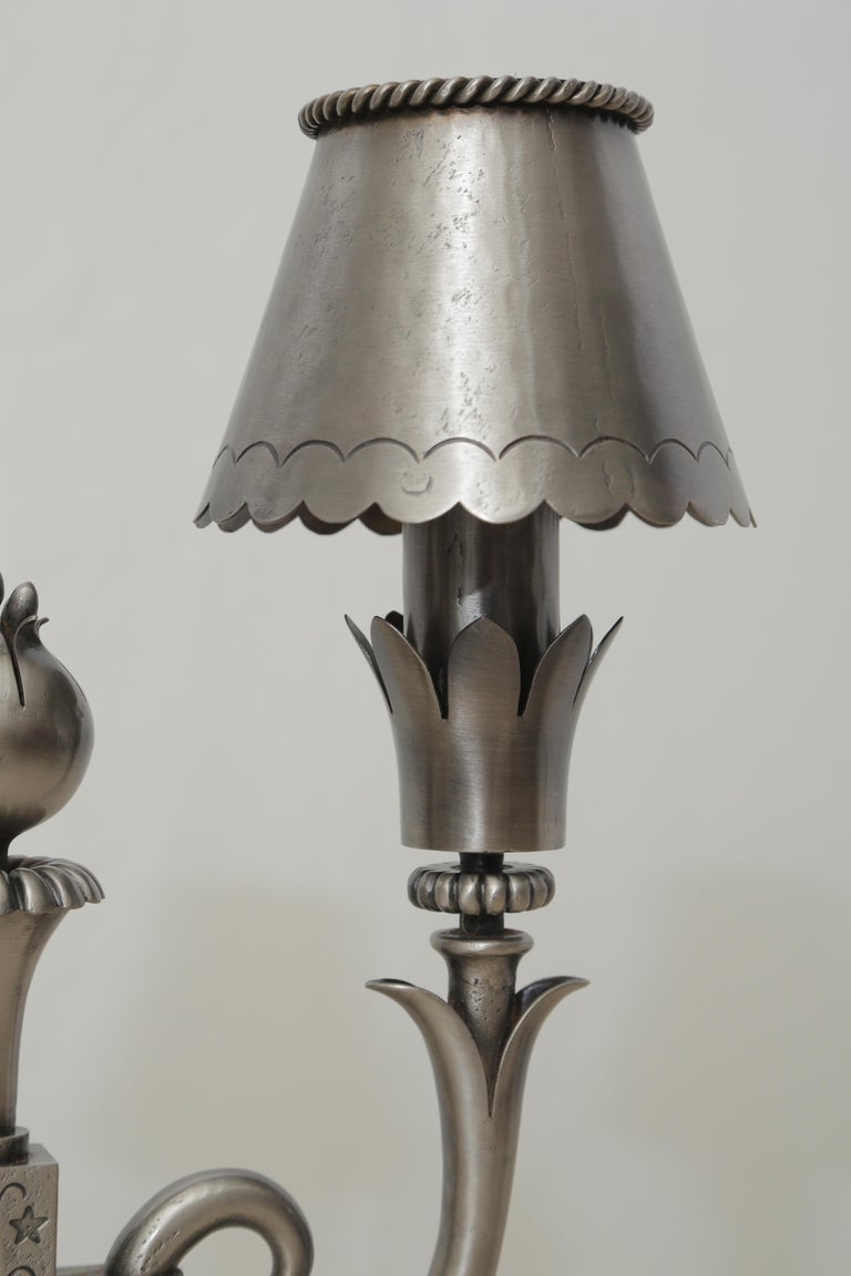 Mid-Century Modern Pair of Midcentury Polished Wrought Iron Table Lamps Attributed to Poillerat For Sale