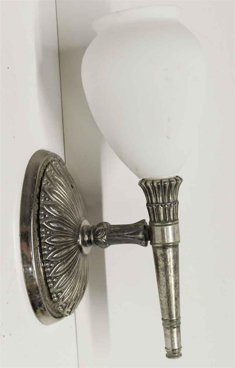 Silvered 1940s Pair of NY Waldorf Astoria Hotel Single Arm Silver Plated Brass Sconces For Sale