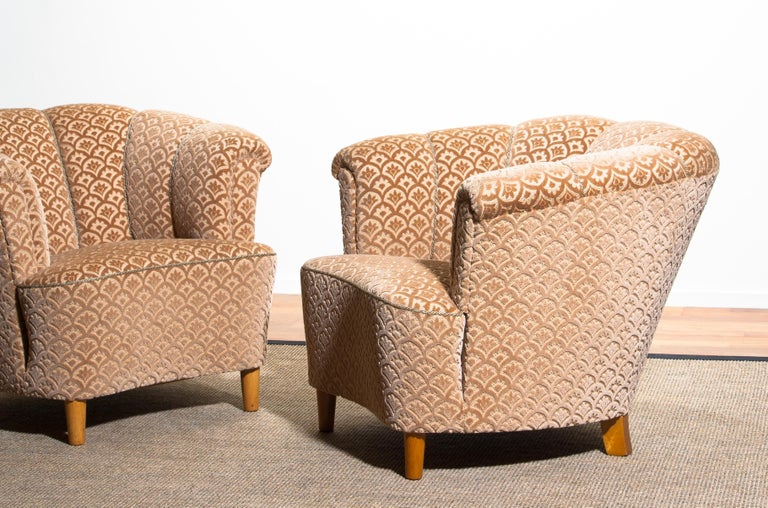 1940s, Pair of Shell Back Club Lounge Cocktail Chairs from Sweden 3