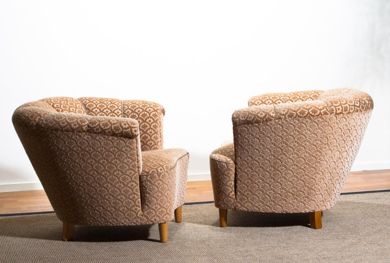 1940s, Pair of Shell Back Club Lounge Cocktail Chairs from Sweden 6