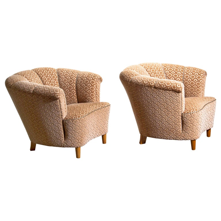 Swedish 1940s, Pair of Shell Back Club Lounge Cocktail Chairs from Sweden