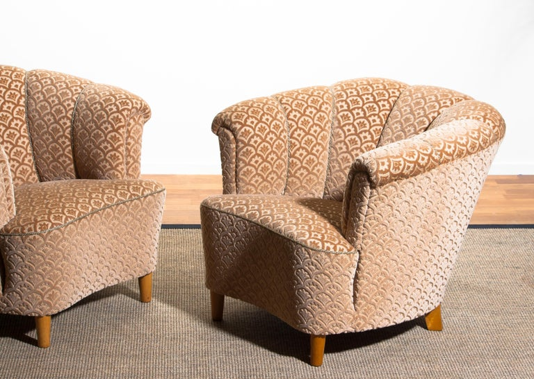 Velvet 1940s, Pair of Shell Back Club Lounge Cocktail Chairs from Sweden