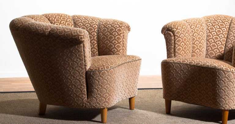 1940s, Pair of Shell Back Club Lounge Cocktail Chairs from Sweden 2