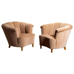 1940s, Pair of Shell Back Club Lounge Cocktail Chairs from Sweden