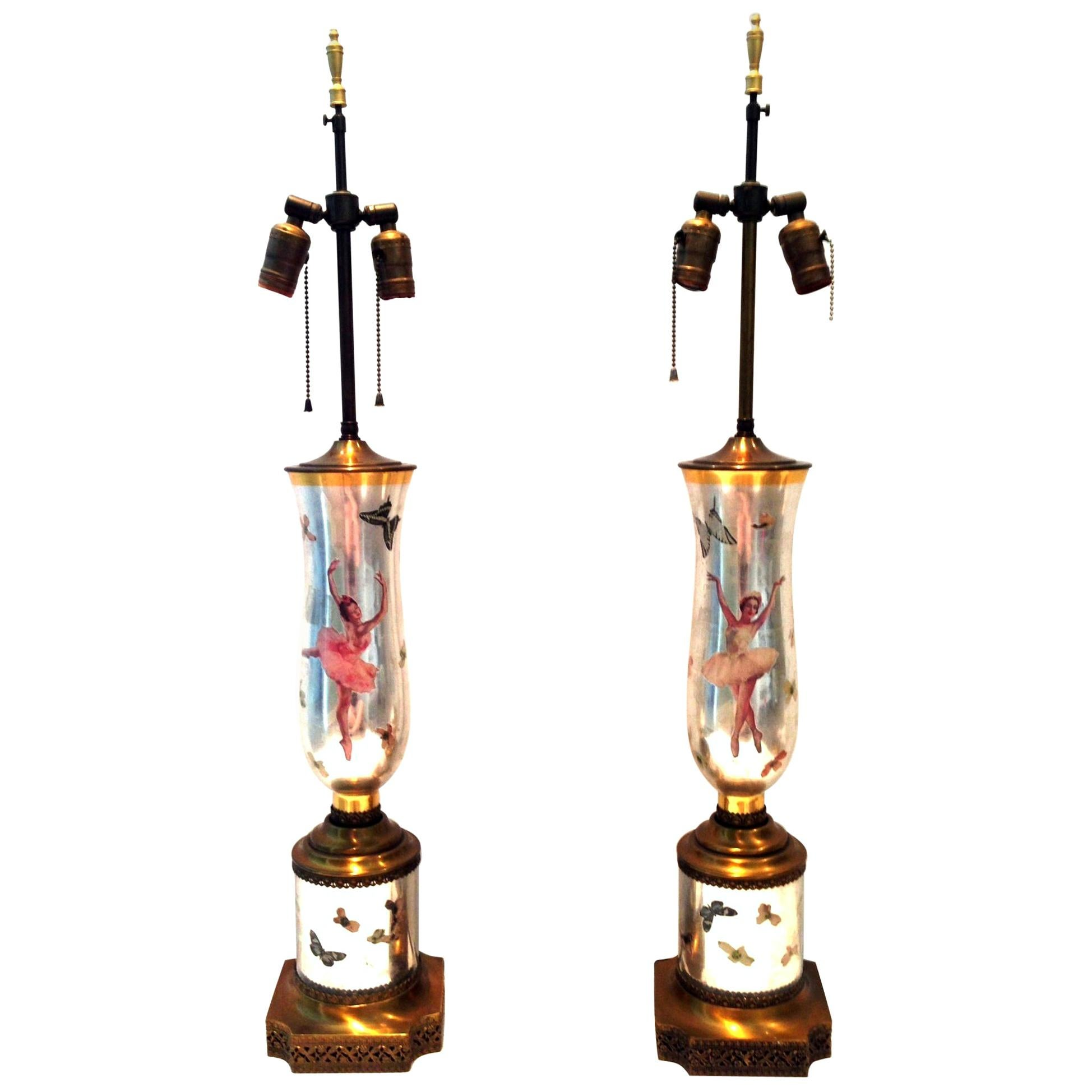 1940s Pair of Silver Leaf Reverse Painted Art Glass Ballerina & Butterfly Lamps