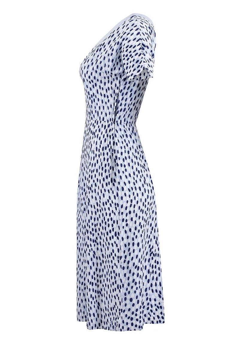 Purple 1940s Pale Blue Rayon Dress With Navy And White Pebble Print For Sale