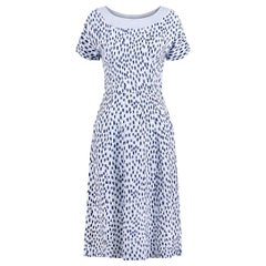 1940s Pale Blue Rayon Dress With Navy And White Pebble Print