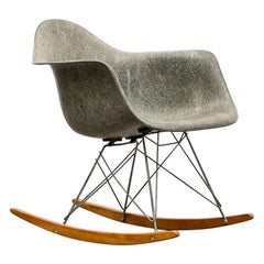 1940s Parchment Color Fiberglass Shell Rar Rocking Chair by Charles & Ray Eames