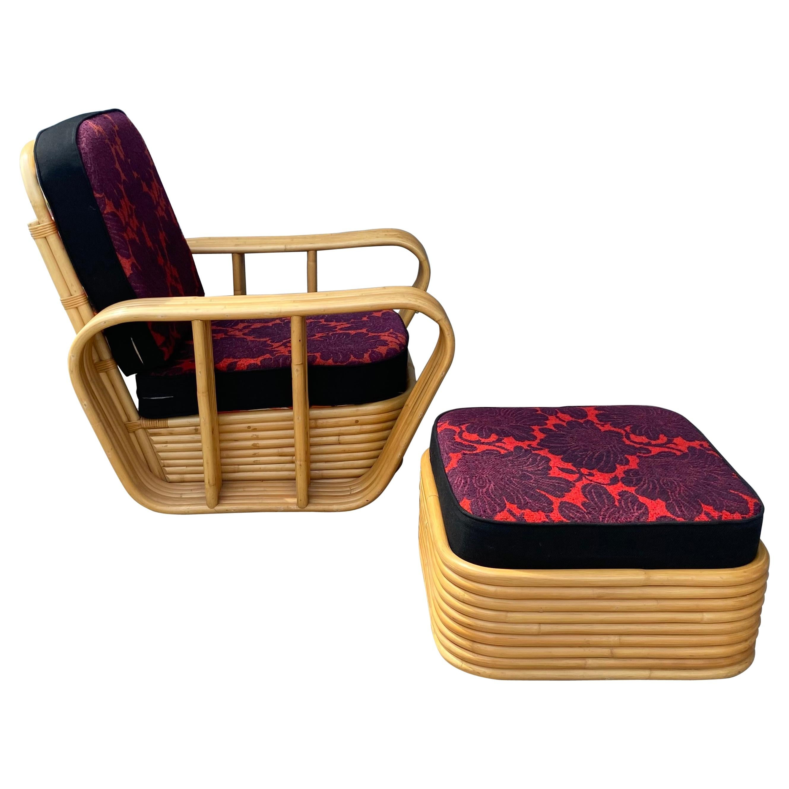 1950s  6 Band Bamboo Lounge Chair and Ottoman, Art Deco