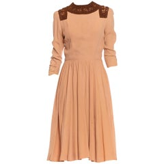 1940S Peach Rayon Crepe Dress With Brown Wool Lace Collar