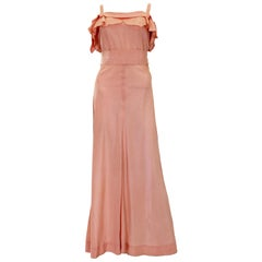 1940s Peach Ruffle Necked Slip Style Evening Gown