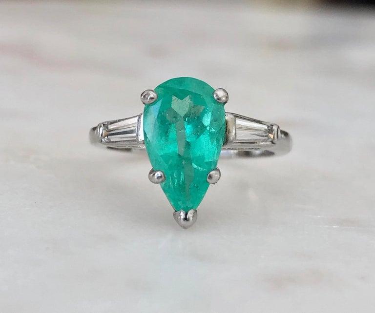 Pear Cut Emerald Diamond Engagement Platinum Ring Three-Stone Pear Shape For Sale