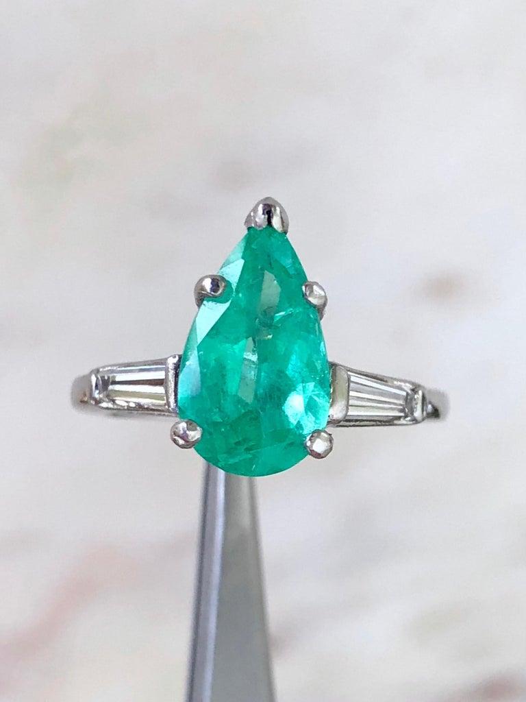 Emerald Diamond Engagement Platinum Ring Three-Stone Pear Shape For Sale 4