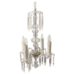 1940s Petite Antique Baccarat Bohemian 4-Light Clear Crystal Chandelier