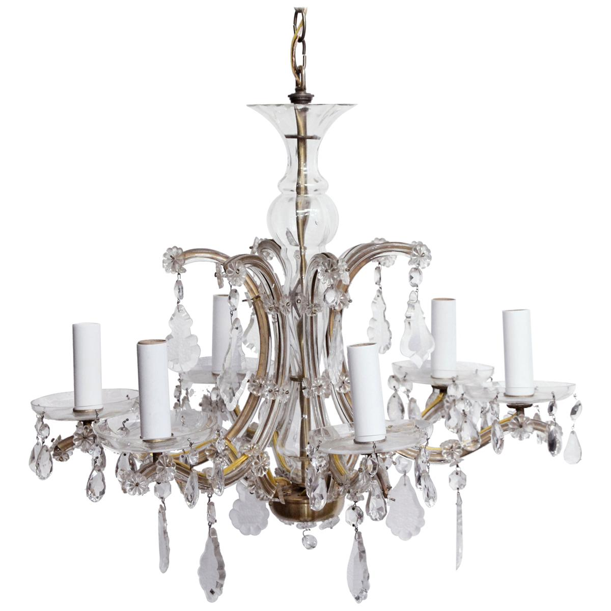 1940s Petite Six-Arm Marie Therese Chandelier with Clear Crystals