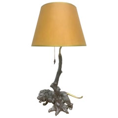 1940s Pewter and Bronze Lion Lamp