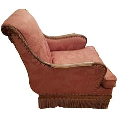 1940s Pink Bullion Fringe Chair with Nail Head Trim Upholstered