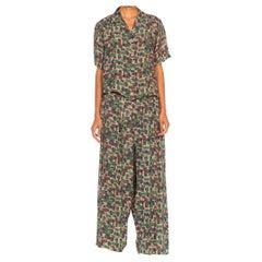 1940S Pink & Green Geometric Rayon Short Sleeve Top Pants Pajamas