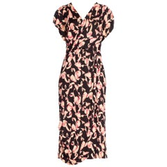 1940's Pink Pencil Shaving Print Jersey Dress With Wrap Skirt