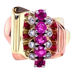 1940s Pink Sapphire and Diamond Ring