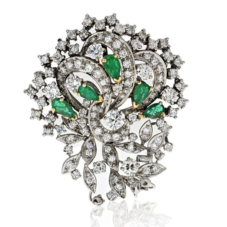 Retro 1940s Platinum, Diamond and Green Emerald Brooch For Sale