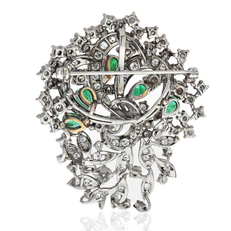 Emerald Cut 1940s Platinum, Diamond and Green Emerald Brooch For Sale