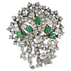 1940s Platinum, Diamond and Green Emerald Brooch