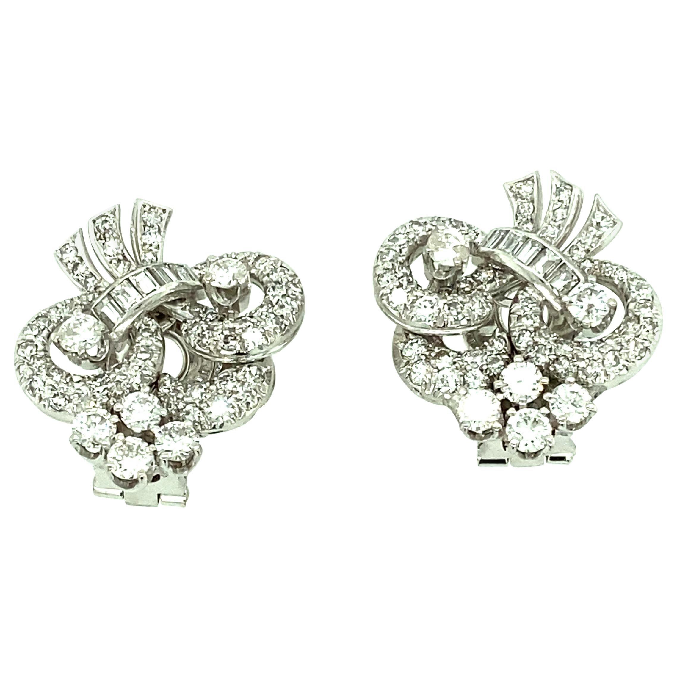 1940s Platinum Diamond Clip-On Earrings