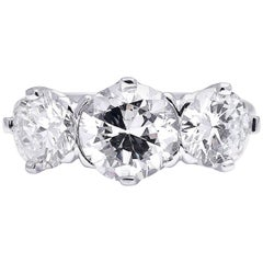 1940s, Platinum, Diamond Three-Stone Engagement Ring
