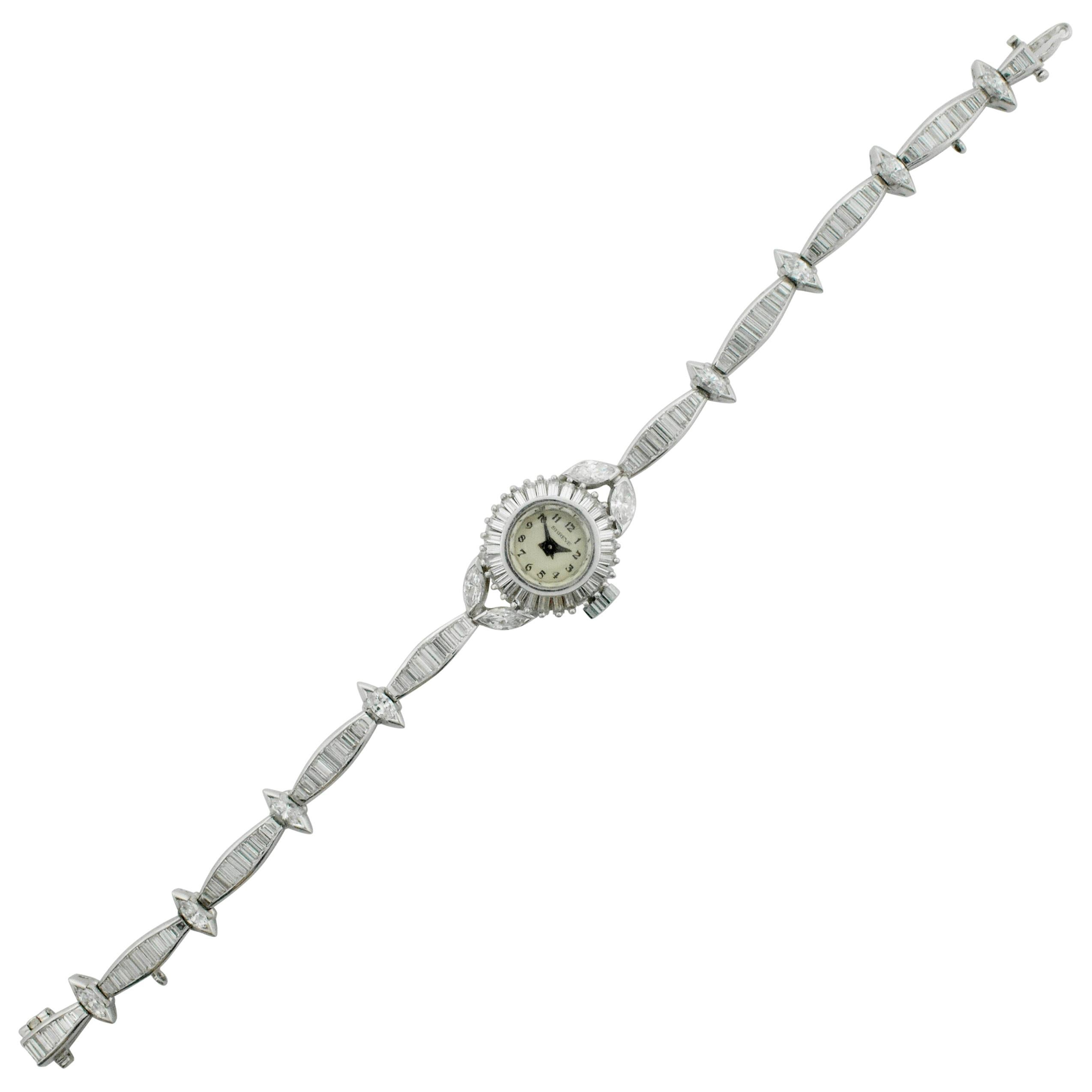"1940s Platinum Diamond Watch ""Shreve and Company"" 5.50 Carat"