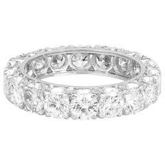 1940s Platinum Wedding Band with 6.20 Carat of Round Cut Diamond