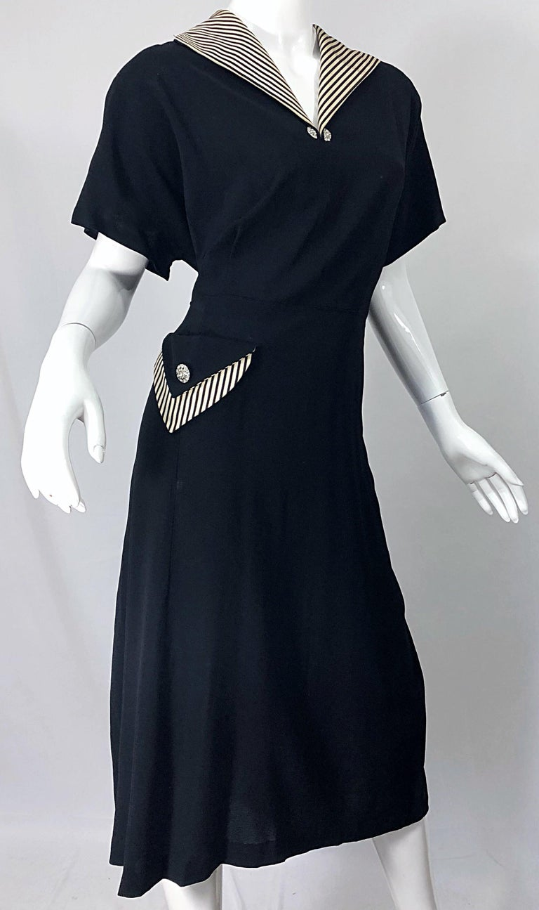 1940s Plus Size 20 / 22 Black and White Crepe Rhinestone 40s Dress and  Jacket