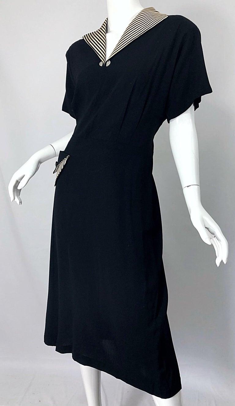 1940s Plus Size 20 / 22 Black and White Crepe Rhinestone 40s Dress and  Jacket