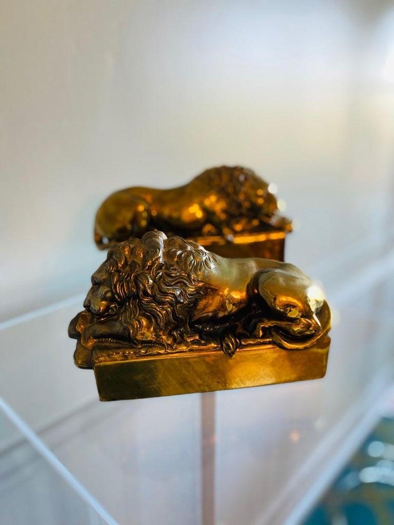 Italian 1940s Polished Bronze Plated Antonio Canova Lion Bookends For Sale