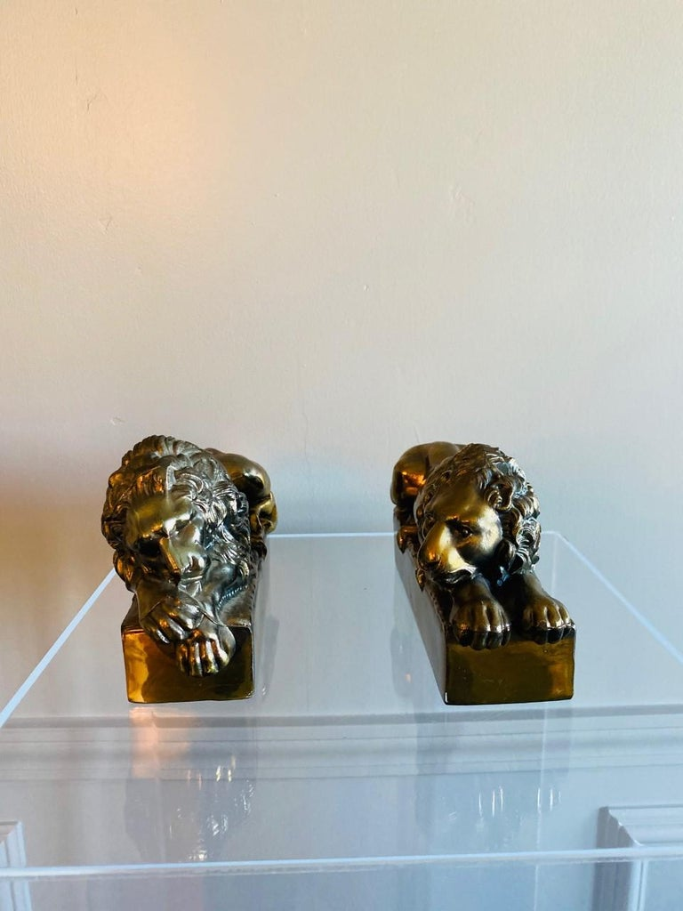 1940s Polished Bronze Plated Antonio Canova Lion Bookends In Good Condition For Sale In San Diego, CA