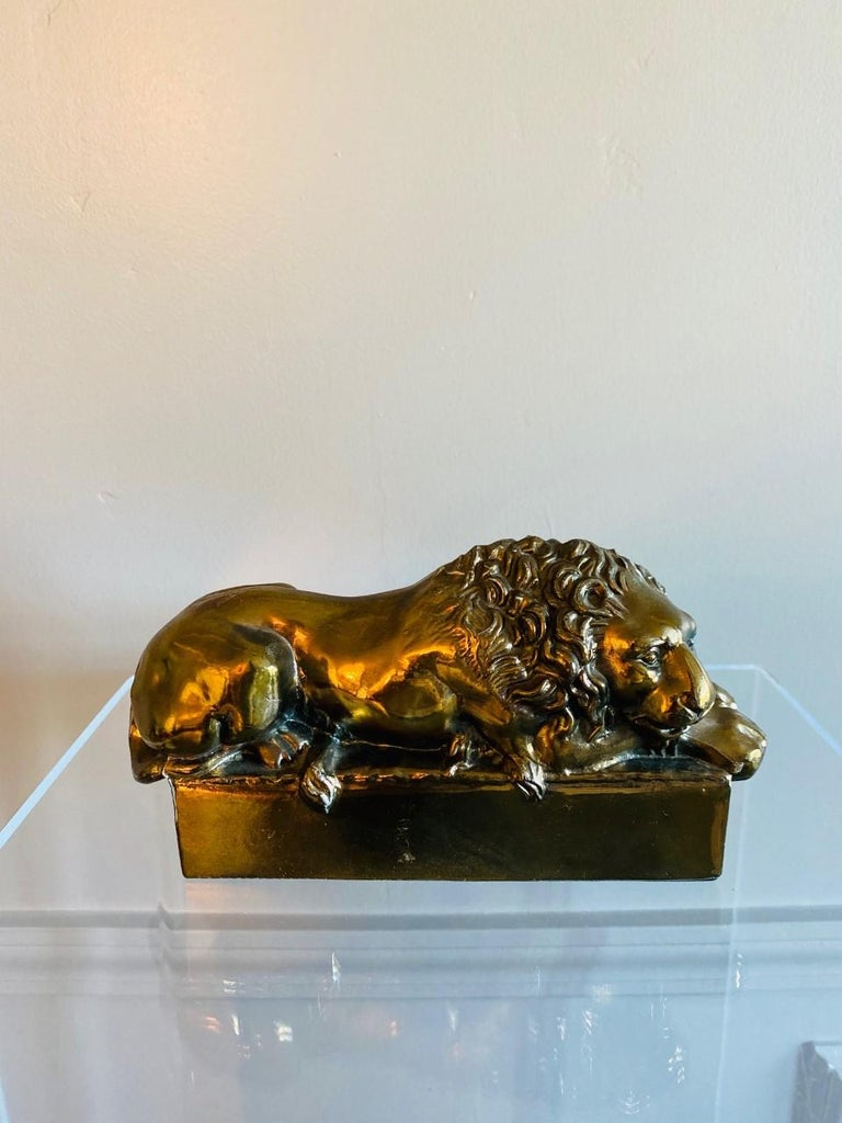Mid-20th Century 1940s Polished Bronze Plated Antonio Canova Lion Bookends For Sale