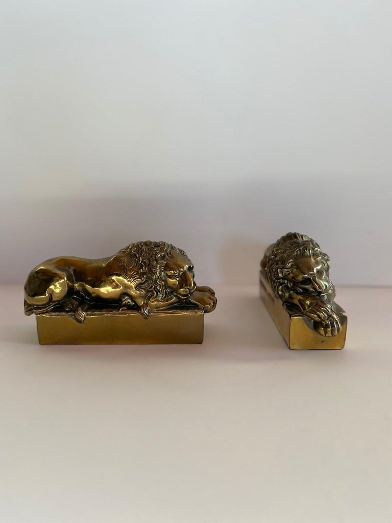 1940s Polished Bronze Plated Antonio Canova Lion Bookends For Sale 3