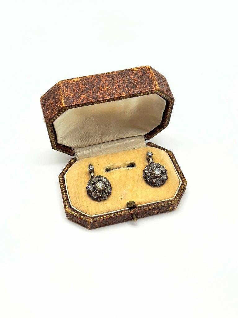 Art Deco Antique Diamonds Gold Victorian Revival Portuguese Cocktail Earrings For Sale