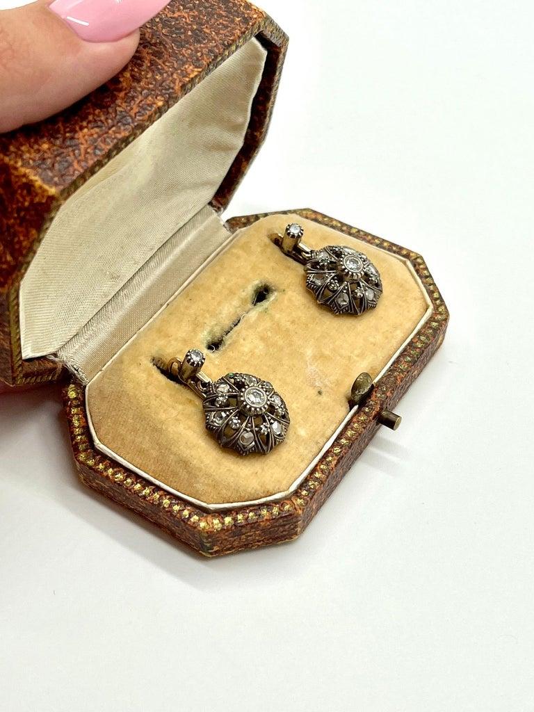Brilliant Cut Antique Diamonds Gold Victorian Revival Portuguese Cocktail Earrings For Sale