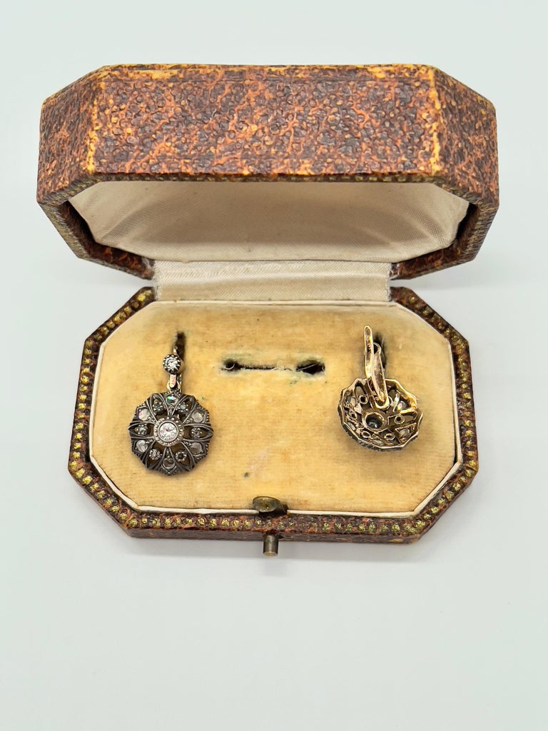 Antique Diamonds Gold Victorian Revival Portuguese Cocktail Earrings In Excellent Condition For Sale In Viana do Castelo, PT