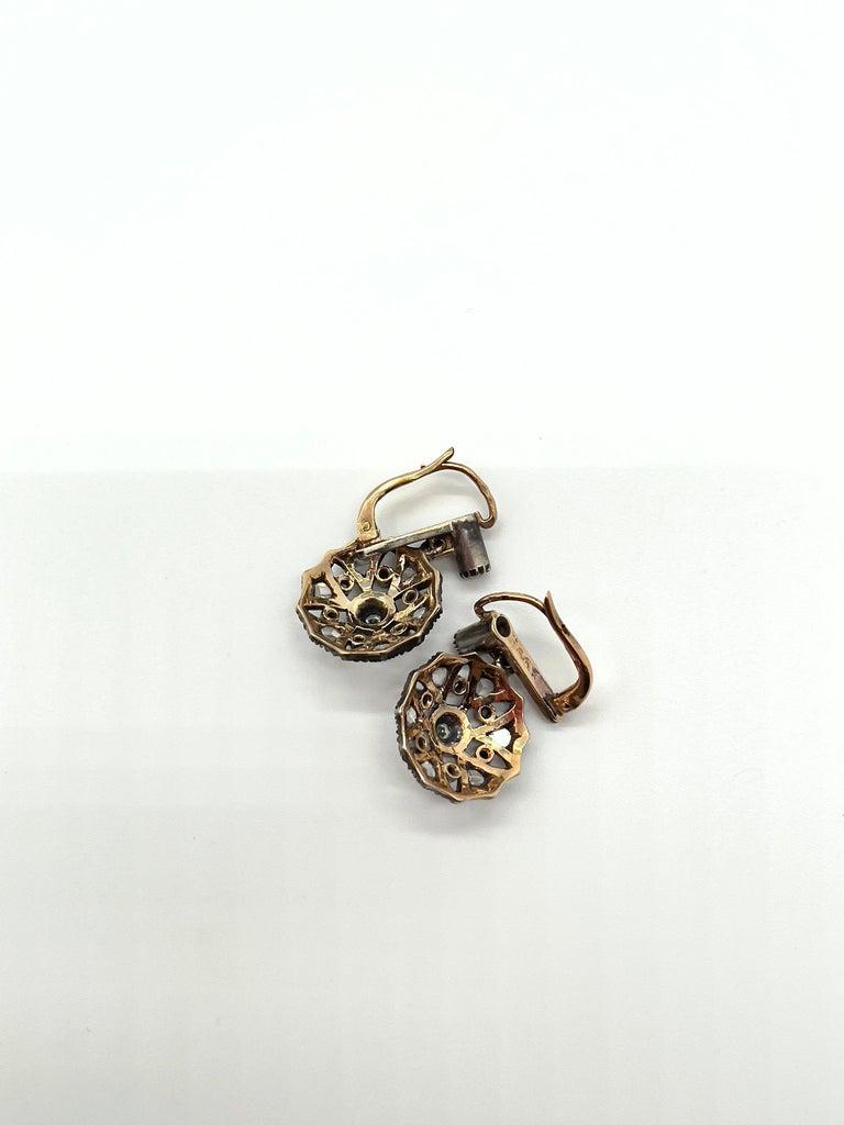 Women's Antique Diamonds Gold Victorian Revival Portuguese Cocktail Earrings For Sale