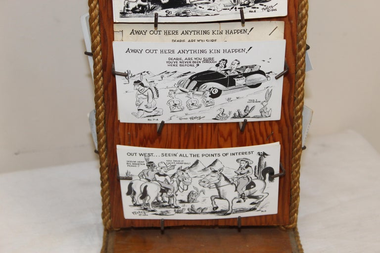 1940s Post Card Display Rack by Bob Petley In Distressed Condition For Sale In Orange, CA